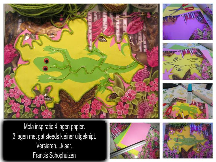 Inspiratie: Mola plakwerk met kinderen. 4 lagen papier met een steeds kleinere uitsnede. Daarna versieren met wol en of schitterdingen. Leuk voor jungle of onder water of insecten.