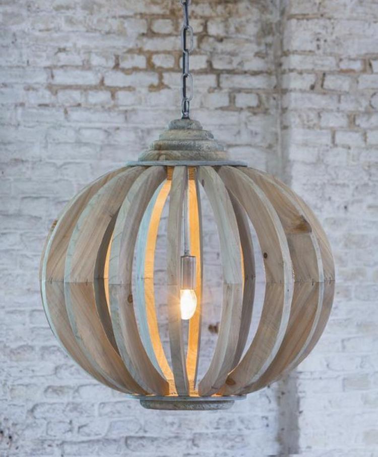 Hanglamp Laura hout met spijlen is een stoere lamp die mooi past in ...