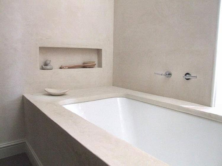 Mooie serene badkamer met dat natuurlijke lichtgrijs/beige en wit ...
