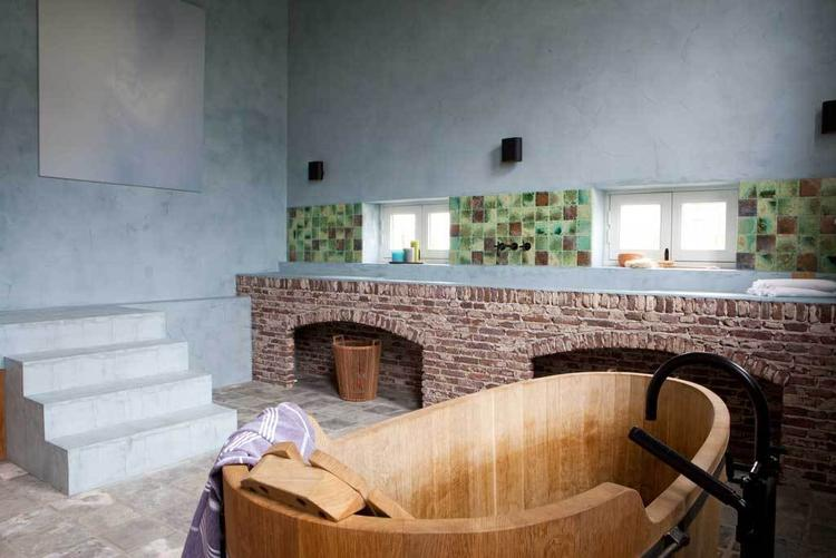 Bad Tafel Hout : Vt wonen houten bad met beton circe foto geplaatst door miryah op