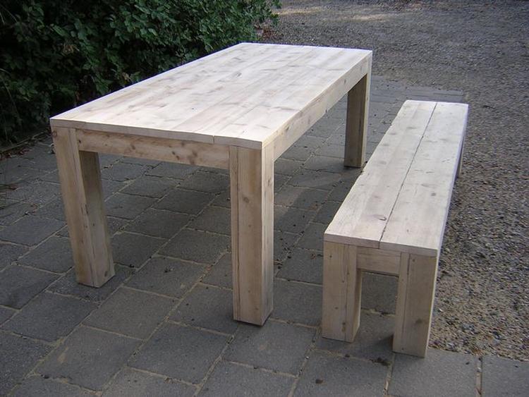 Genoeg houten tafel met bank yd belbin