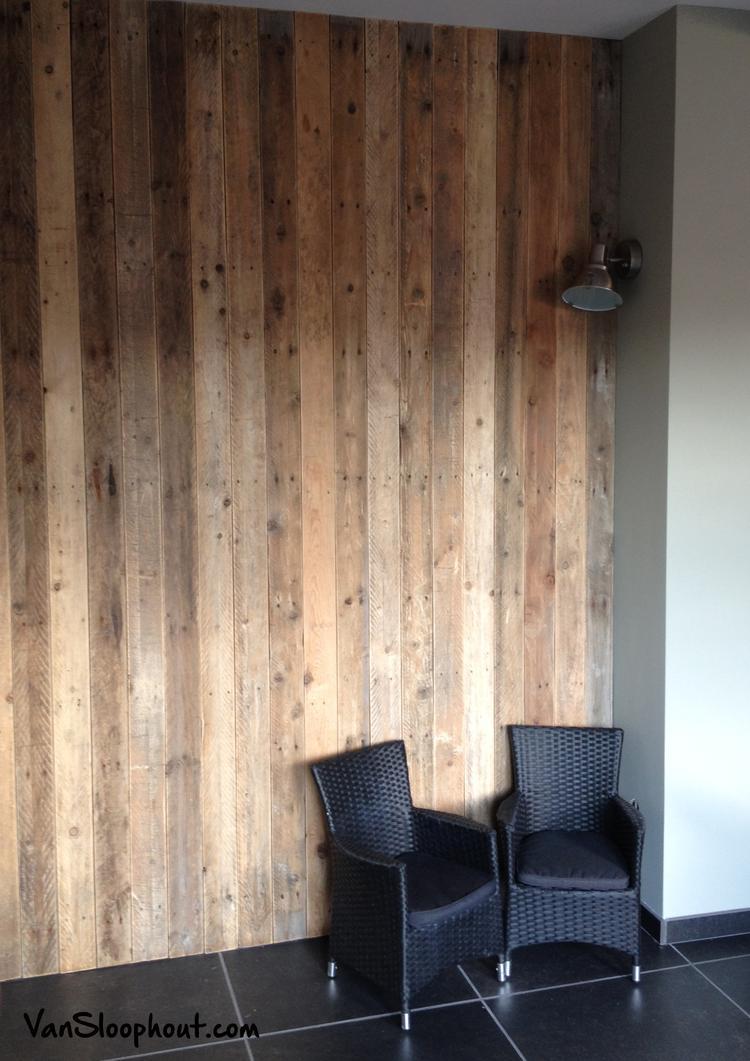 Warme look door wand / muur van sloophout #warm #gezellig #knus ...