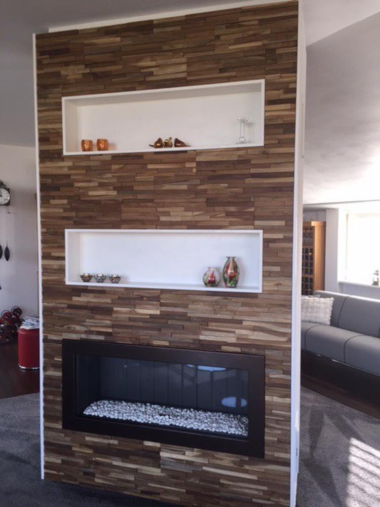 New roomdivider bekleed met houtstrips, houten steenstrips - heeft een @JY88