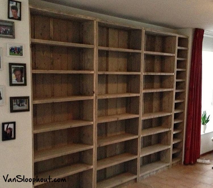 zelf grote boekenkast maken archidev steigerhouten