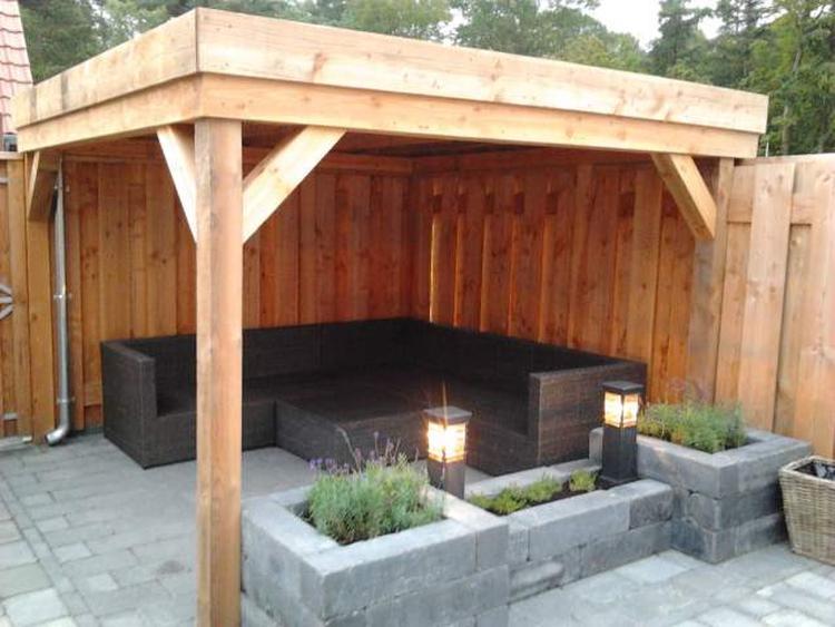 Veranda van lariks douglas hout met dakbedekking epdm dakmaat