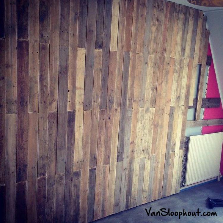 Verwonderend Work in progress. Wand aan het bekleden met sloophout planken MC-46