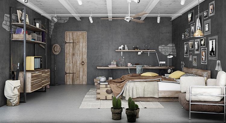 Stoere industriële slaapkamer met veel hout en metaal. Dat zie je ...