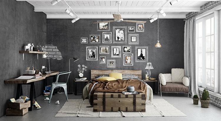 Mooie industriële slaapkamer met een mooie grijze muur, houten bed ...