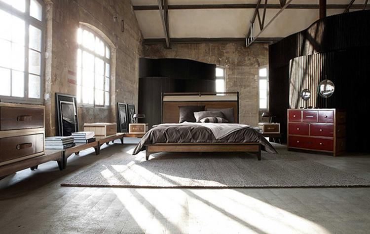slaapkamer in mooie industrià le stijl met grote ramen en metalen