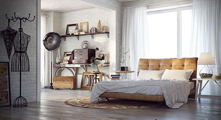 Chique industriële slaapkamer met stoer leren bed, rond vloerkleed ...