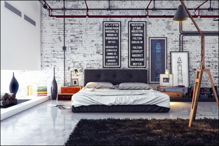 stoere slaapkamer in industrià le sfeer met de mooie witte stenen
