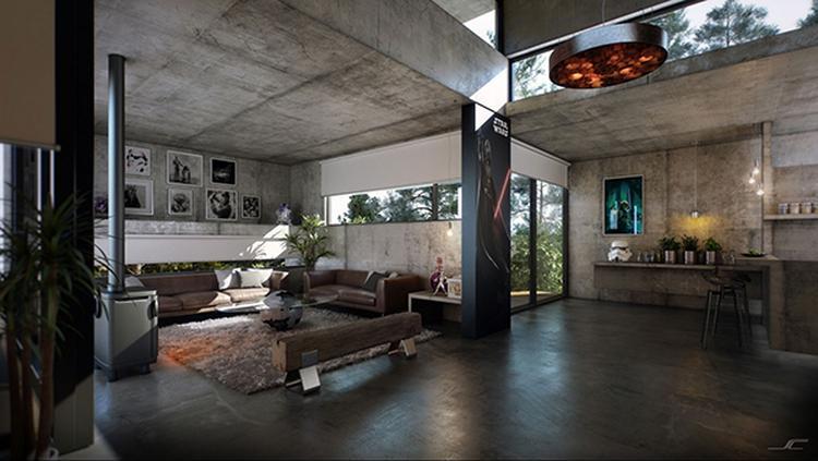 Stoere industriële woonkamer met veel beton. Gezelligheid is ...