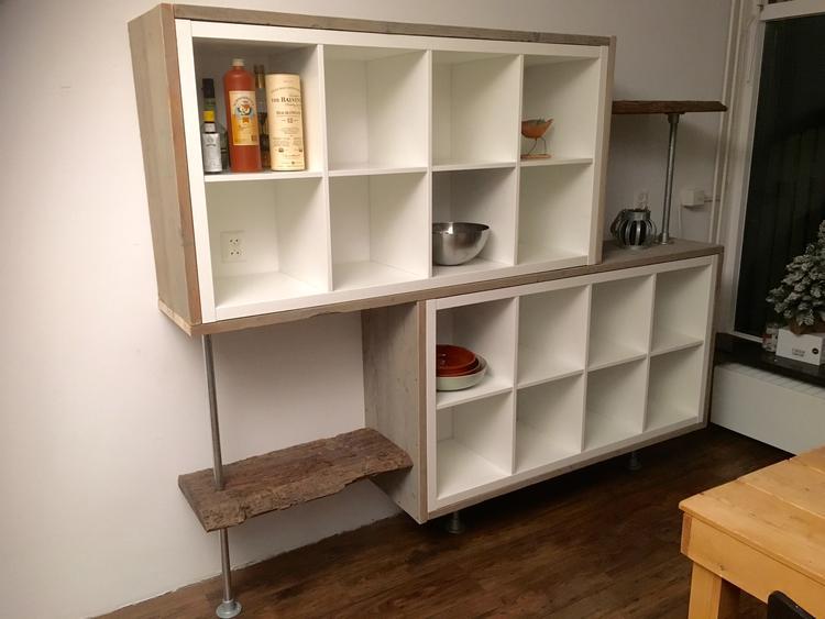 Wandkast Van Ikea Kallax Met Steigerhout Steigerbuis En Oud