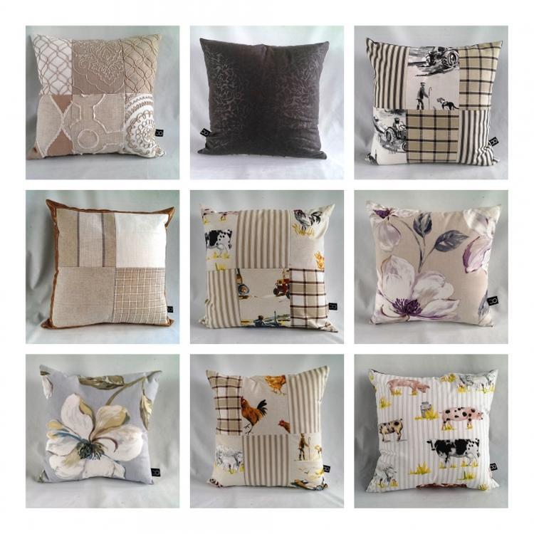 handgemaakte vrolijk gekleurde patchwork woonkussens vervaardigd uit zware kwaliteit interieur stoffen de binnen kussens hebben een dikke kunststof vulling