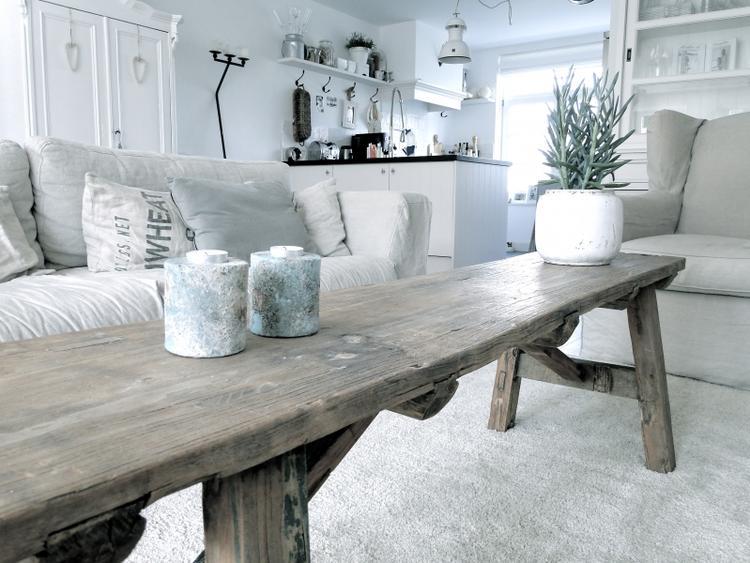 Inrichting Woonkamer Steigerhout : Mooie landelijke woonkamer inrichting foto geplaatst door l
