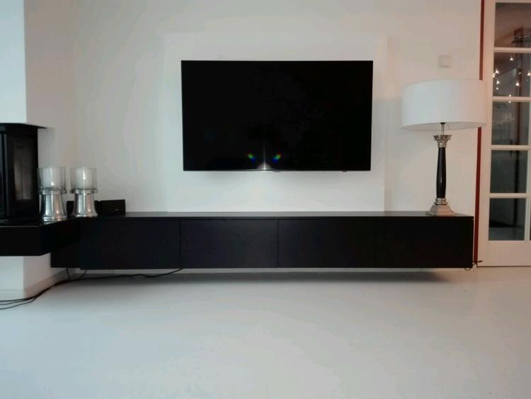 Tv Meubel Zwevend Hout.Zwevend Tv Meubel Incl Tb Achterwand By Deca Designs Foto