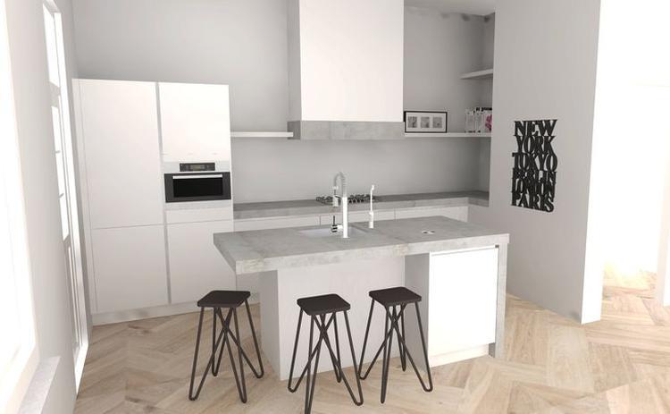 Keuken werkblad beton. Foto geplaatst door Thuiskeukens op Welke.nl