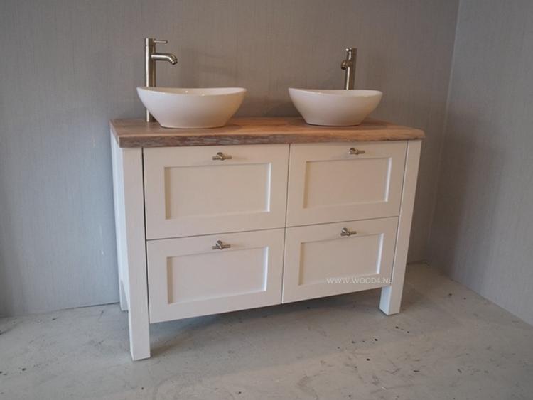 Badkamermeubel Quattro Classic met 2 ovale waskommen en hoge waskom ...