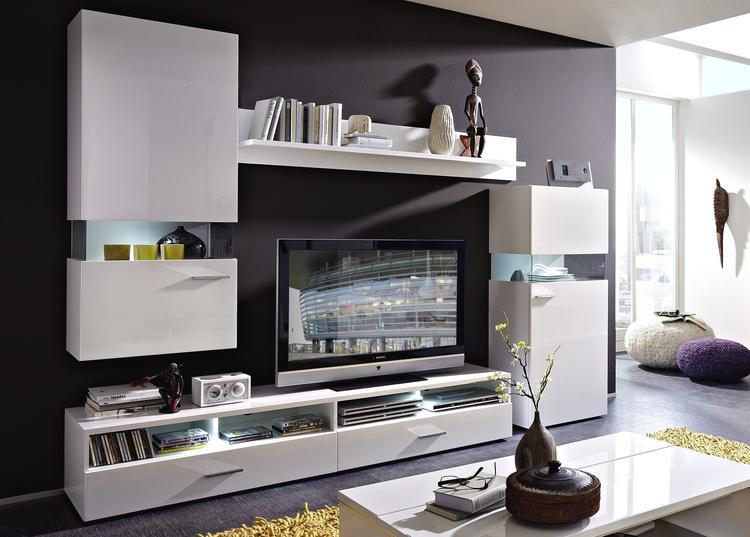 Tv-wandmeubel Whitestar - Modern hoogglans wit tv-wandmeubel ...
