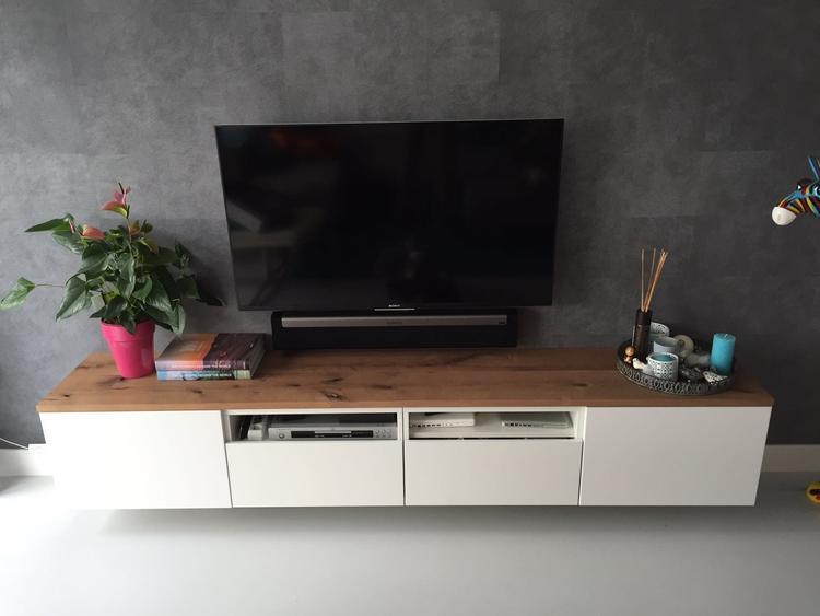 Tv Meubel Plank.Upgrade Van Tv Meubel Op Maat Gemaakt Eiken Plank Boven Op Het