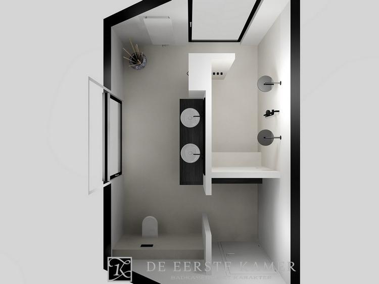 De eerste kamer evenwichtig badkamerontwerp met dubbele douche