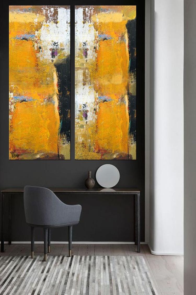 Ook in een kleine ruimte kun je grote schilderijen ophangen. Zoals ...