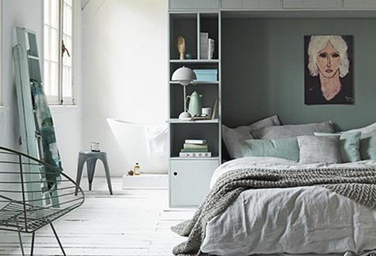 Slaapkamer Groen Grijs : Basic sfeer slaapkamer met groen grijs tinten. foto geplaatst door
