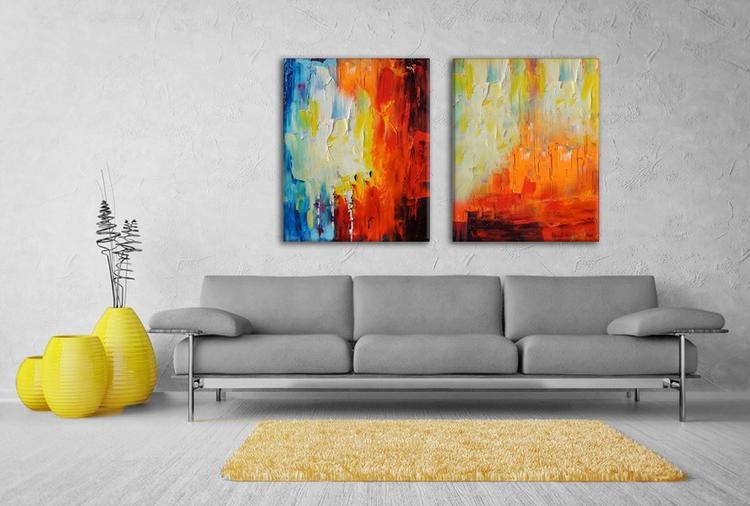 XXL tweeluik schilderij in een moderne woonkamer, dit kunstwerk is ...