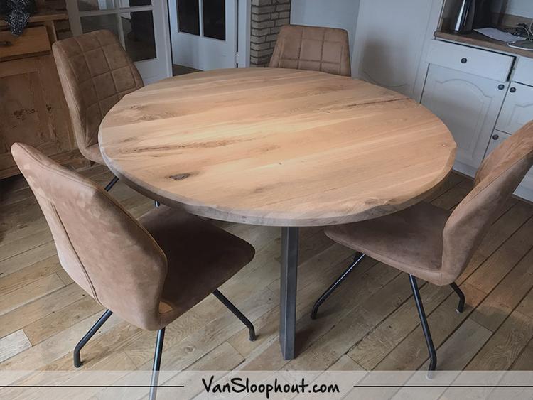 Ronde maatwerk tafel van rustiek eiken! Naturel tint eiken ...