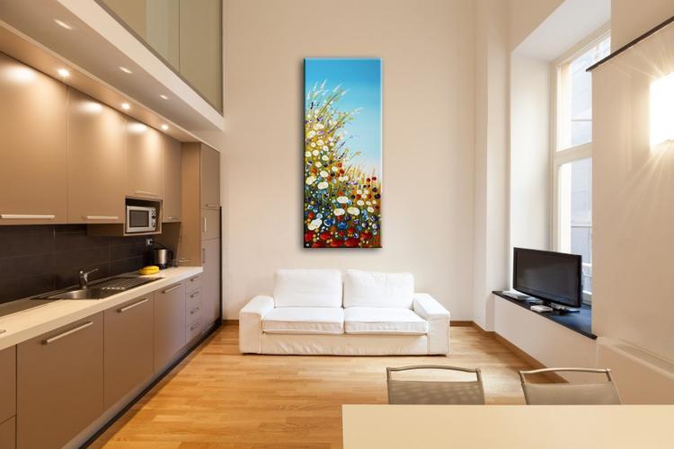 Groot staand schilderij \'Summertime\' geschilderd met acrylverf op ...