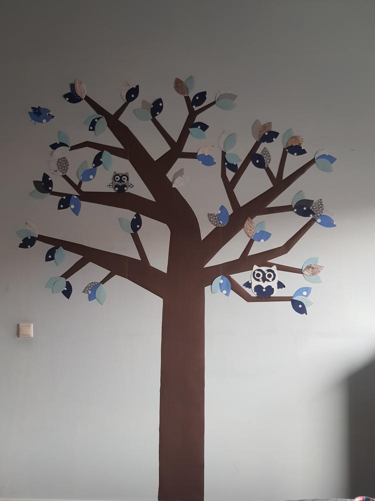 Wanddecoratie Babykamer Boom.Muursticker Boom Met Uiltjes In Verschillende Tinten Blauw De