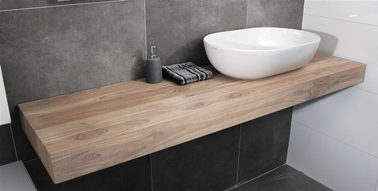 Mooi dik houten blad voor je badkamer, dan maak je een statement ...