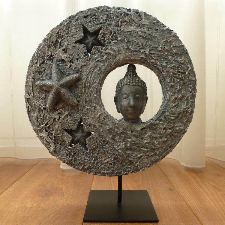 Decoratief Beeld Met Boeddha Hoofd Het Geheel Is Gemaakt Op