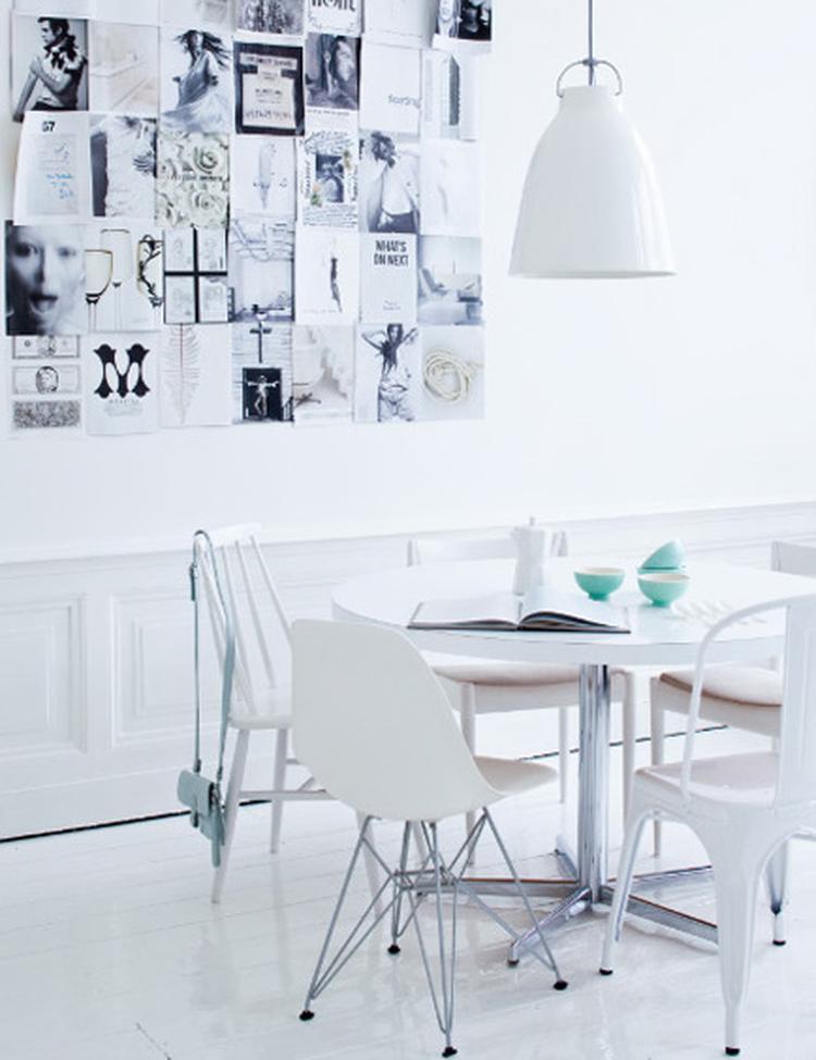 Witte eetkamer met zwart-wit foto\'s. . Foto geplaatst door Ietje op ...
