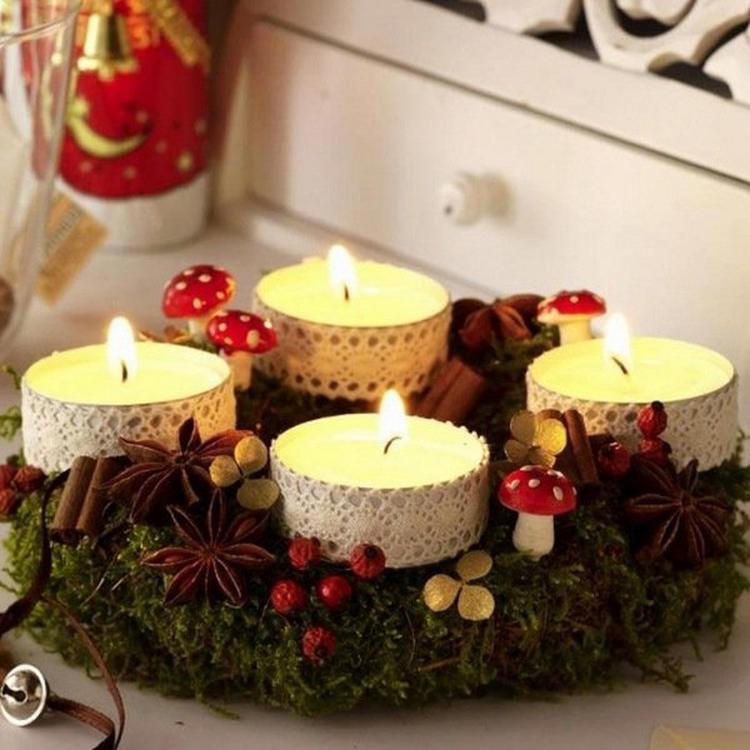 herfst kerst krans verlichting hier voor heb je nodig strokrans plat mos binddraad krammen lijmpistool kaneel stokjes ster anijs witte