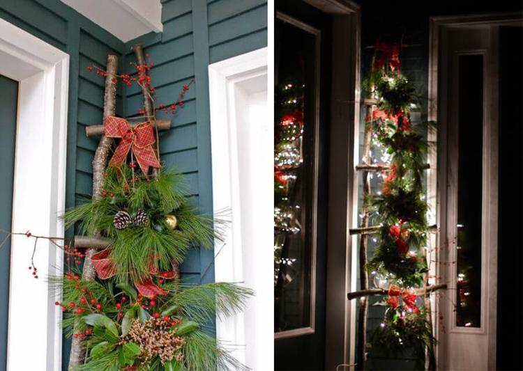Kerst decoratie voor buiten met boomstammetjes gedeeld door