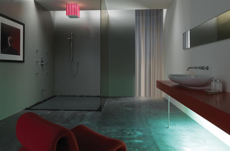 Inloopdouche Met Regendouche : Design badkamer met lumiére douche van bossini deze badkamer
