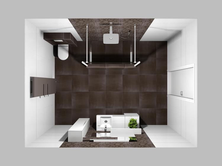 De eerste kamer sfeervolle badkamer in warme kleuren in deze