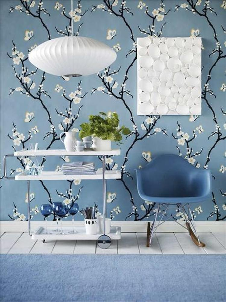 Baby Blauw Behang.Prachtig Blauw Behang Met Witte Bloesem Foto Geplaatst Door Ietje