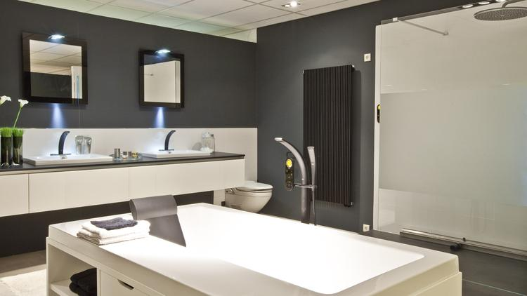 Badkamer met Sealskin ligbad (Engelen Rotterdam). In deze strakke ...
