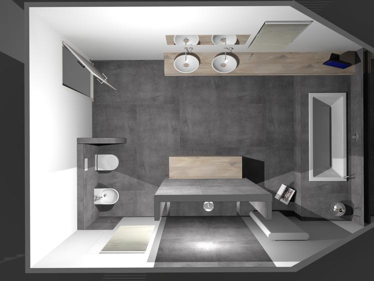 De Eerste Kamer) Strakke badkamer met stijlvolle waskommen op ...