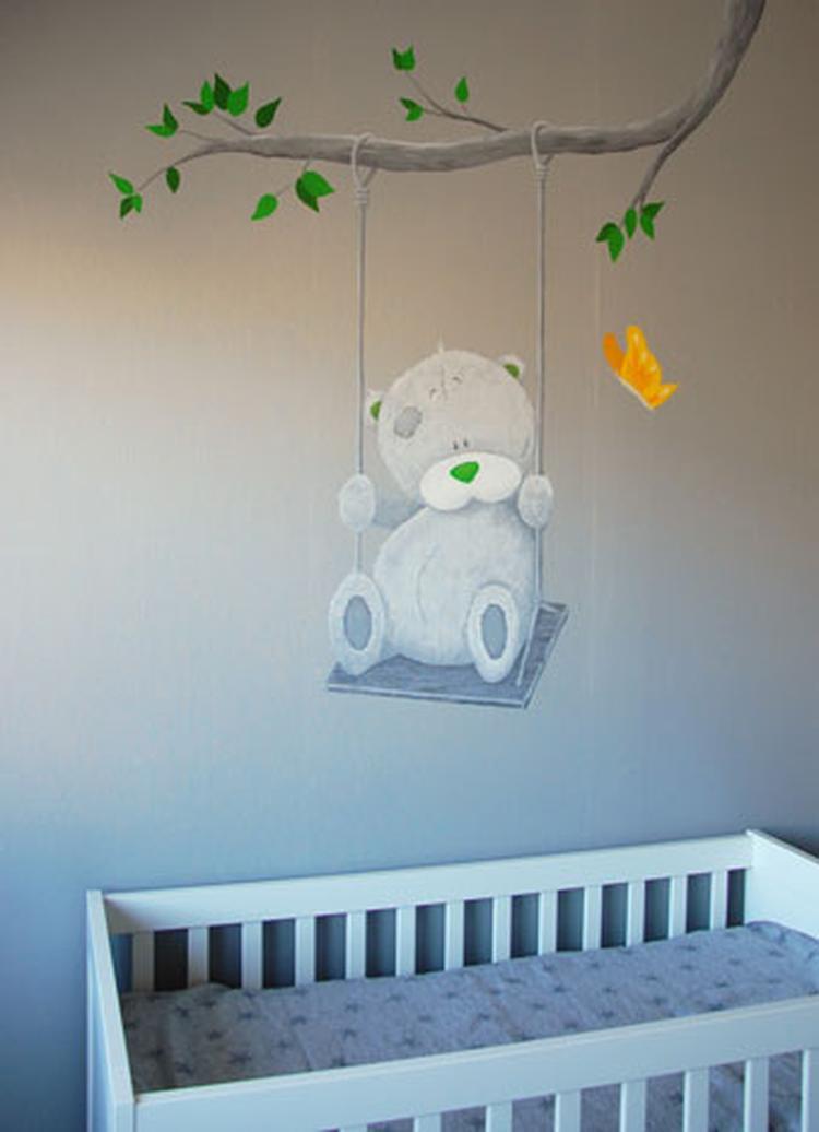 Grijs Behang Babykamer.Me To You Muurschildering Met Enkele Kleur Accenten In Babykamer