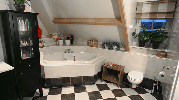 Functionele badkamer met klassieke tegels. Deze luxe badkamer ...