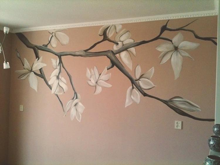 muurschildering woonkamer magnolia takken. Foto geplaatst door ...