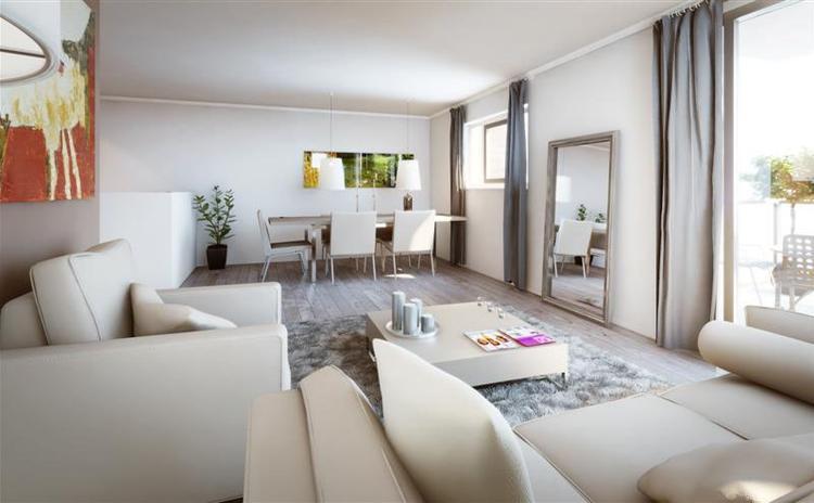 lichte woonkamer met grijze laminaatvloer. Foto geplaatst door ...