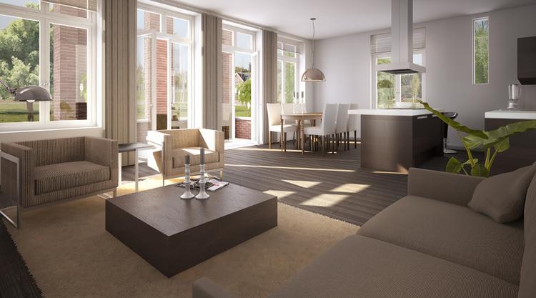 woonkamer in aardekleuren. Foto geplaatst door kcmjacobs op Welke.nl