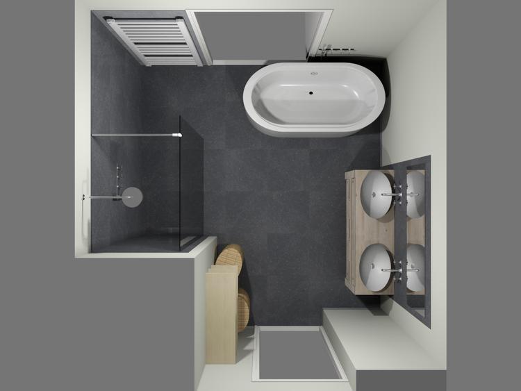 De eerste kamer ronde vormen in een moderne badkamer in deze