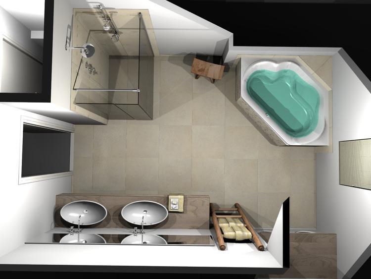 De Eerste Kamer) Een chique badkamer met een schuin dak. Natuurlijke ...