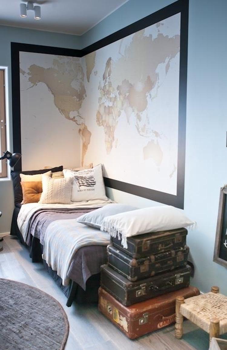 stoere slaapkamer met zo een grote landkaart.. Foto geplaatst door ...