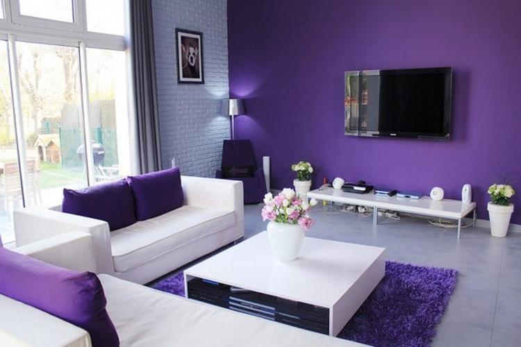 Paarse Decoratie Woonkamer : Paarse muur woonkamer